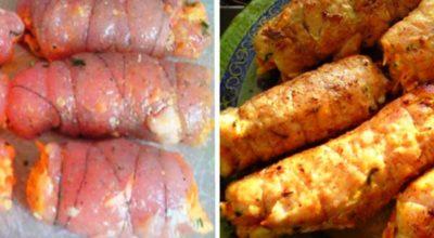 Царское блюдо: куриные рулетики «Боярские». Сочное мясо с ароматной начинкой