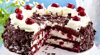 Торт «Шварцвальдская вишня» или «Черный лес». Вишня и взбитые сливки