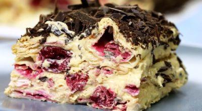 Нежный и сочный торт без выпечки «Вишневое блаженство». За 15 минут и без печенья