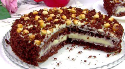 Простой и быстрый. Нежный торт на кефире «Фантазия» с заварным кремом