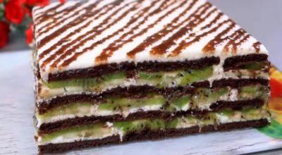Торт без выпечки. Мягкий, нежный, пропитанный