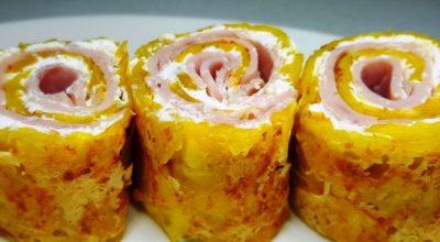 Простое и вкусное блюдо из картофеля, творожного сыра и ветчины
