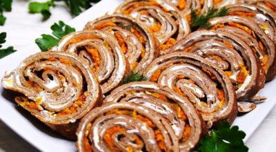 Рецепт праздничного рулета из печени