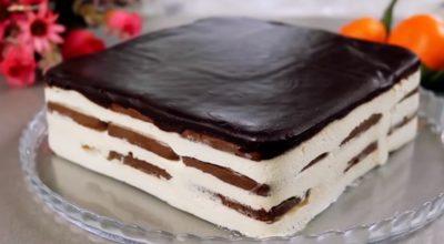 Шоколадный торт без выпечки с мягкой шоколадной глазурью