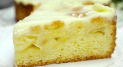 Нежнейший яблочный пирог – торт. Все дело в заливке
