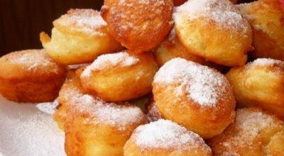 Пышные пончики с яблоком