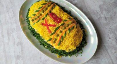Праздничный салат с курицей «Пасхальное яйцо»