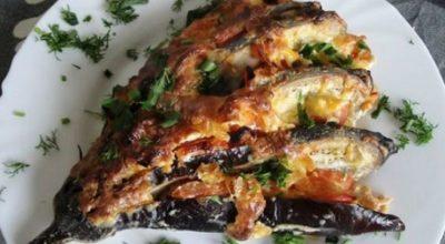 Баклажаны с сыром и чесноком «Баклажанный веер»