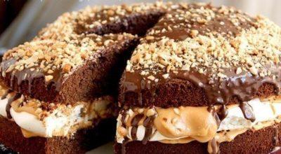 Настоящий «Сникерс». Очень вкусный и сытный торт