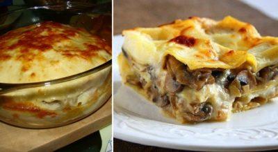 Очень простая, но вкусная лазанья из блинов с грибами и курицей