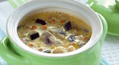 Потрясающий грибной суп с баклажанами